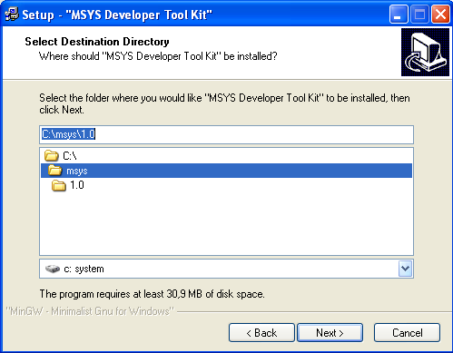MSYS Developer Toolkit install