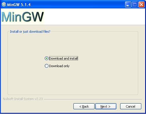 MinGW install start